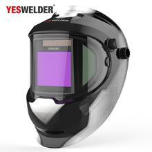 YESWELDER Panoramic 180 ขนาดใหญ่มุมมองหมวกกันน็อกพลังงานแสงอาทิตย์เครื่องเชื่อมหน้ากาก Auto Darkening เชื่อม Hood ด้านข้าง LYG Q800D