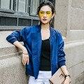 INU026 Новое Прибытие сплошной цвет случайные свободные длинным рукавом бейсбол куртка женщин пальто осень 2016