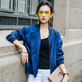 INU026 New Arrival solid color casual loose long sleeve baseball jacket women coat autumn 2016