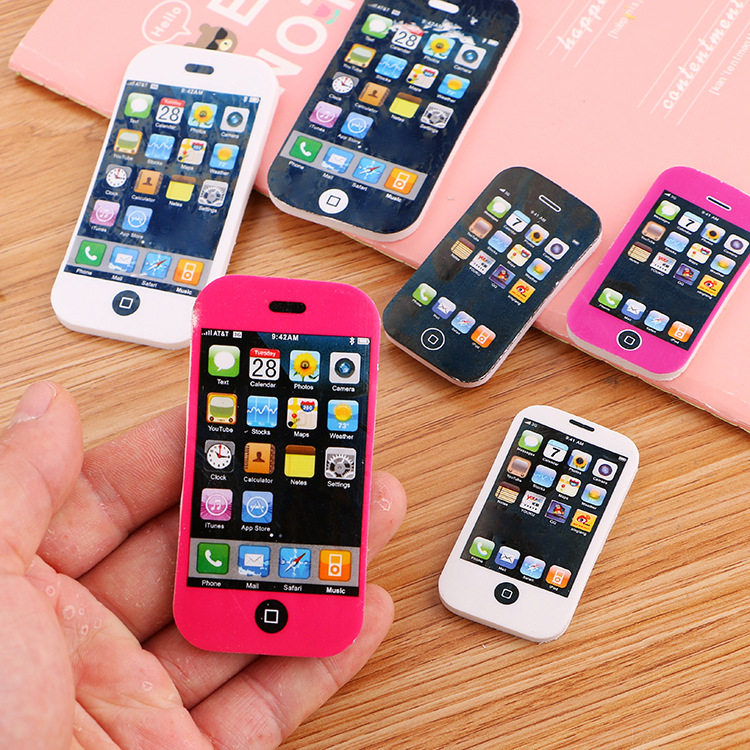 Creative Stationery Cartoon Apple Mobile Phone Eraser Elementary School Students Gift Lovely Children Rubber Cute School Supply