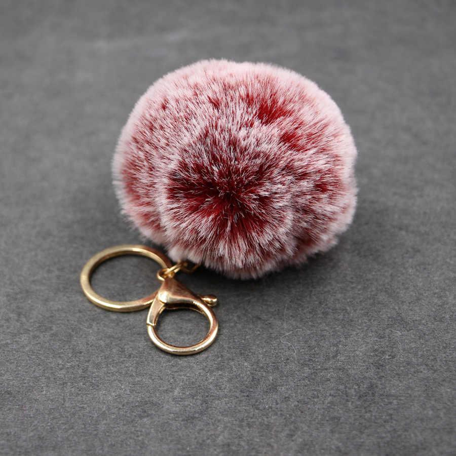 Grande Faux Leather 8 CM PomPom Pele de Coelho KeyChain Saco Bulbo Capilar Pom Pom Bola da Chave de Cadeia Pingente Clef Porte para As Mulheres Encantadoras fofo