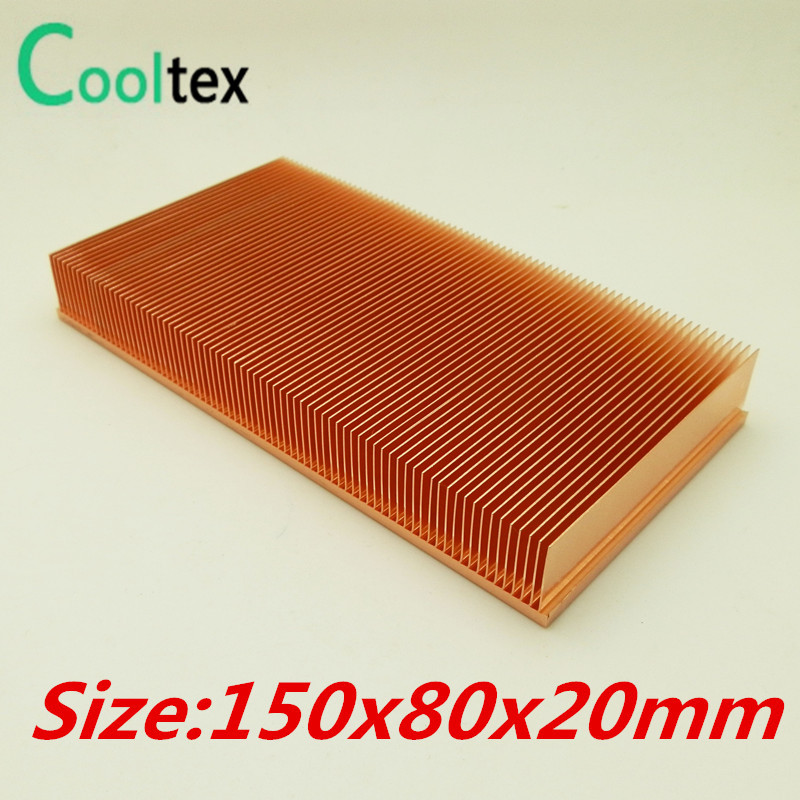(High power) Pure Copper Heatsink 150x80x20mm Skiving Fin Heat Sink Radiator For Electronic Chip LED Cooling Cooler