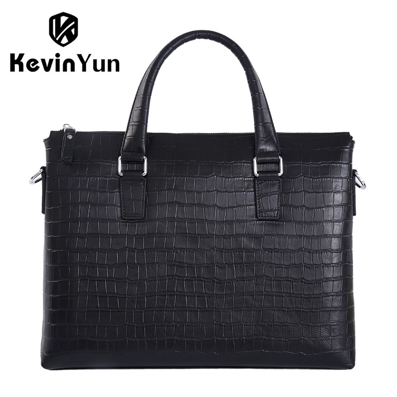 купить KEVIN YUN designer brand men handbag genuine leather bag male shoulder messenger bags business men briefcase laptop bag онлайн