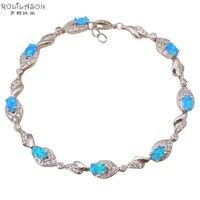 למכור חם סיטונאי מדהימה הכחולה אש אופל זירקון תכשיטי אופנה כסף חותם OB014 צמידי חג המולד