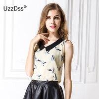 2016 New Fashion Womens Birds Print Chiffion Blouse Sleeveless Shirt Vintage Elegant Casual Slim Brand Designer