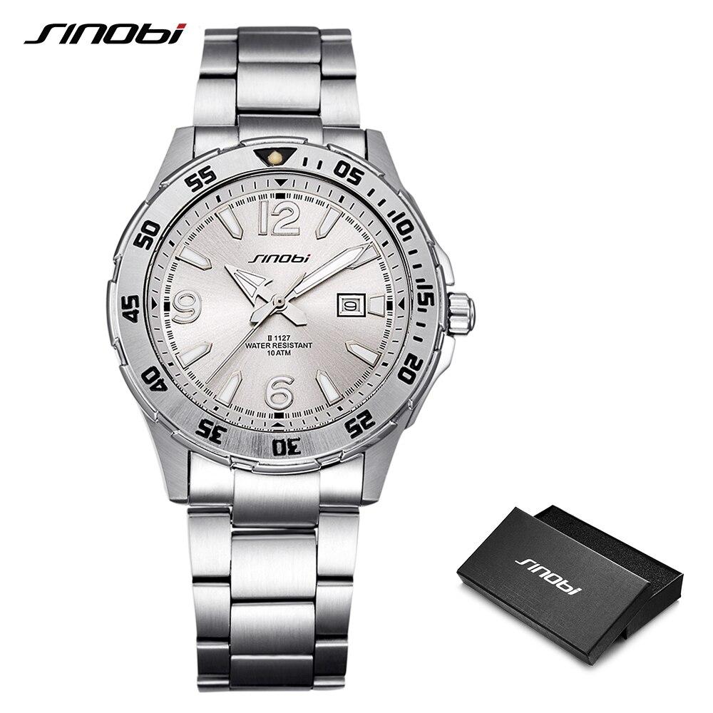 SINOBI 10Bar étanche hommes plongée sport montres-bracelets Auto Date 2018 Top luxe marque lumineuse hommes genève Quartz-montre 007