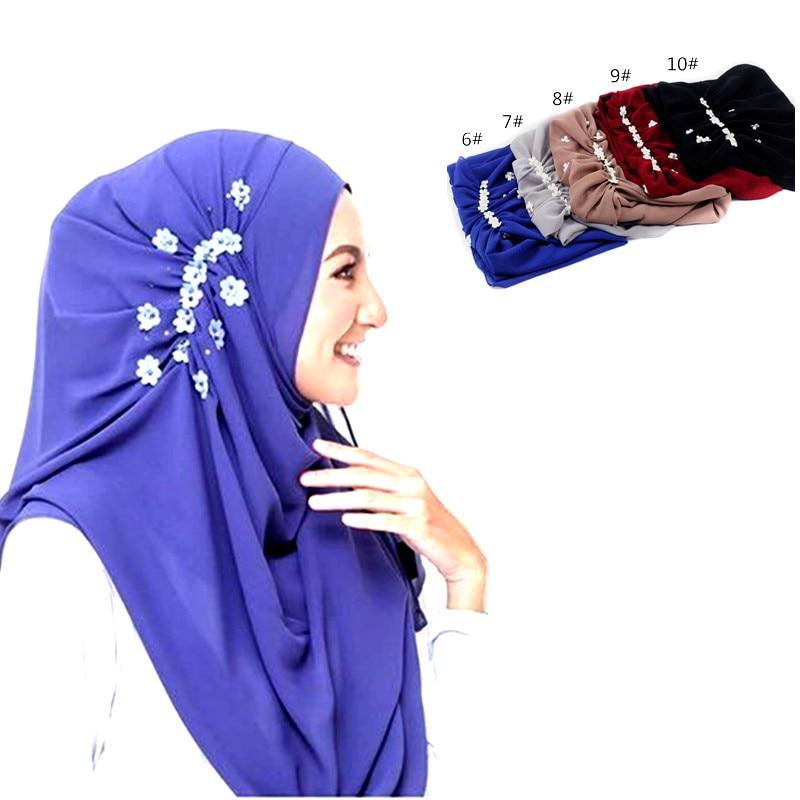 Nieuwe vrouwen chiffon bloem printe parels sjaal bloem hoofdband - Traditionele kleding