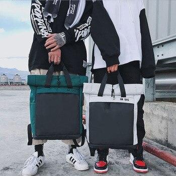Mochila Casual de moda Unisex tendencia hombres y mujeres Bagpack Simple diario bolsa multifunción de gran capacidad verde ligero