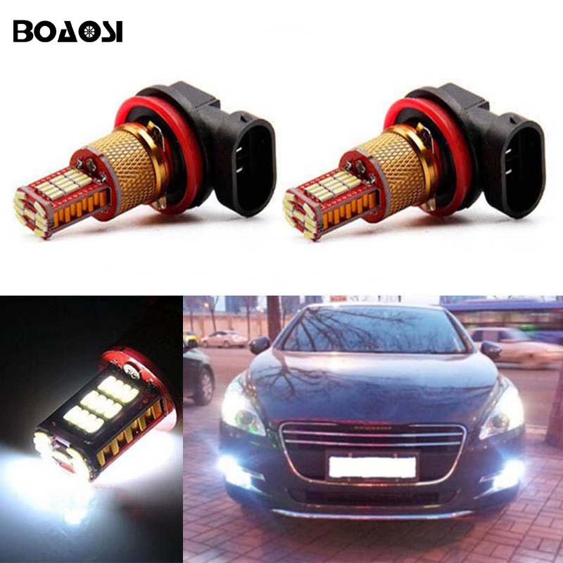 BOAOSI 2x H11 High Power LED Lamp bulb Fog Light Driving DRL Car Lights For Peugeot 301 3008 407 boaosi 1x h11 high power led light 4014 33smd 30w fog light driving drl car light no error for bmw e71 x6 m e70 x5 e83 f25 x3