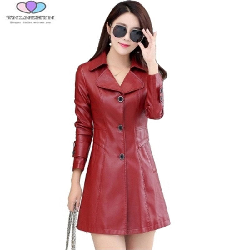 2019 Spring And Autumn Women Leather Jacket Fashion Washed PU Leather Jacket Female Outerwear Coat Plus Size 4XL TNLNZHYN E88