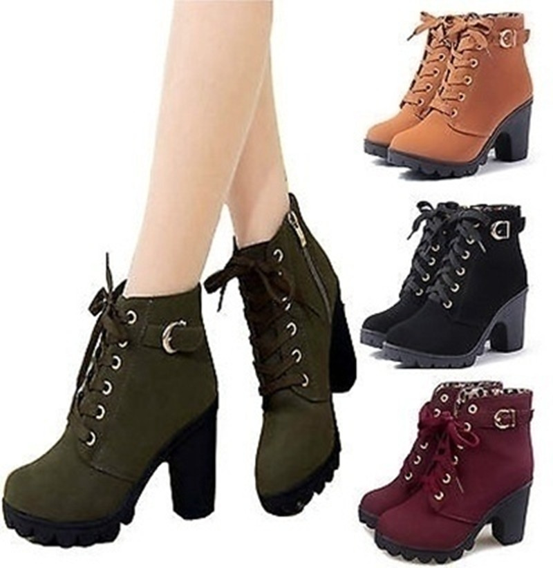 Women Boots 2016 Fashion High Heel Boots Winter Women Ankle Warm Boots Shoes In Ankle Boots From