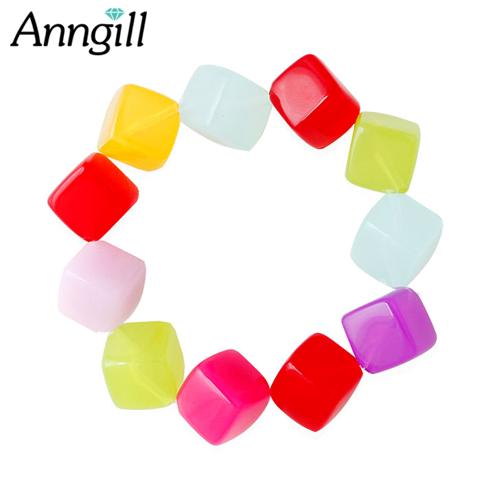 Trendy Square Acrylic Colorful Bead Bracelet Femme Stretch Handmade Jewelry For Women Friend Love Gift Bohemian Candy Color