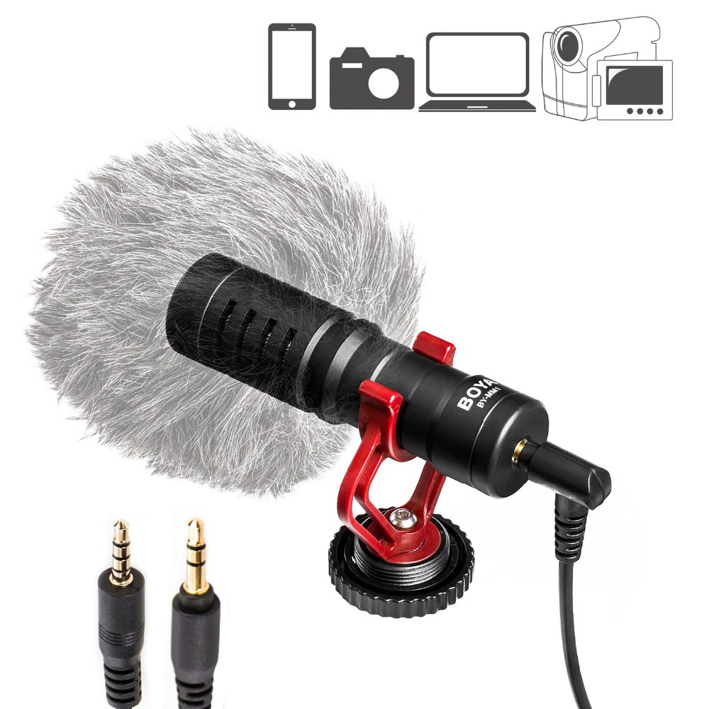 Նորագույն BOYA Universal Cardiod Shotgun Microphone for iPhone 7 6 Xiaomi Smartphone Mac Tablet PC Համակարգիչ DSLR Տեսախցիկ Տեսախցիկ