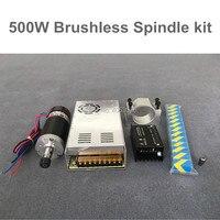 Бесщеточный 500 Вт ЧПУ мотор шпинделя ER11/ER16 DC шпинделя + 55 мм зажим + Степпер водитель мотора + Питание
