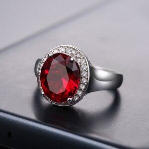 Image 2 - DOUBLE R Sterling Silver Bạc Nhẫn đối với Phụ Nữ 2.65ct Hình Bầu Dục Tạo Của Ruby Đá Quý Zircon 925 Engagement Ring