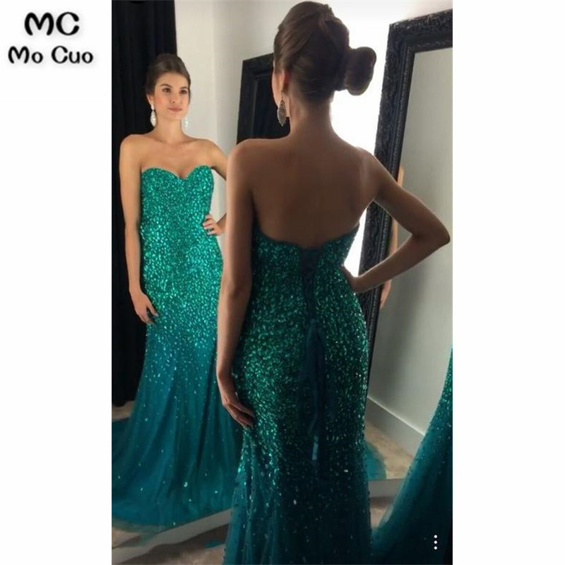 2019 Teal Mermaid   Prom     dresses   with Rhinestone Sweetheart long graduation   dresses   Evening   Prom     Dress   for Women Custom Made
