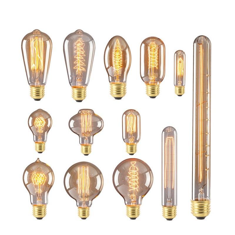 Ретро лампа Эдисона E27 220 V 40 W ST64 G95 винтажная лампа накаливания Эдисона лампада ламповая нить подвесной светильник для дома