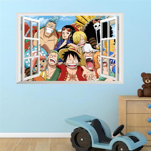 Luffy One Piece Amine Comic 3D Window Wall Sticker