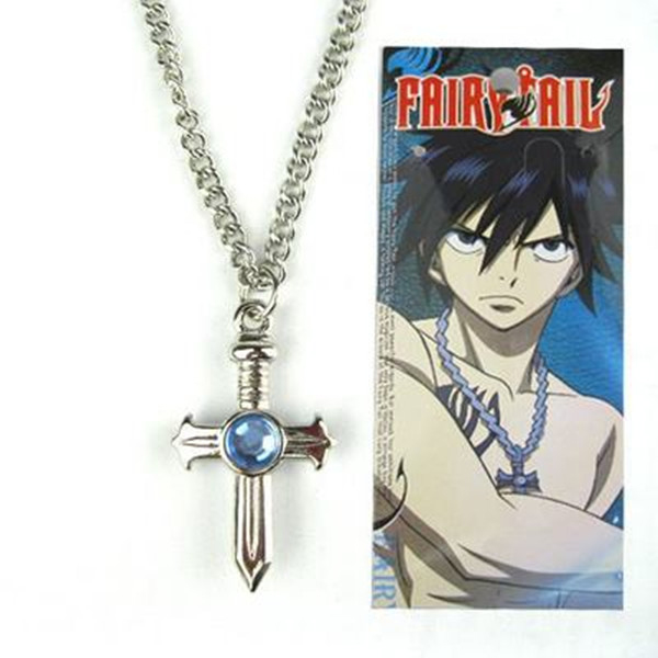 Anime Fairy Tail figure toys Gray Fullbuster cosplay Cross Necklace pendant Collectible cartoon toys for kids gift image