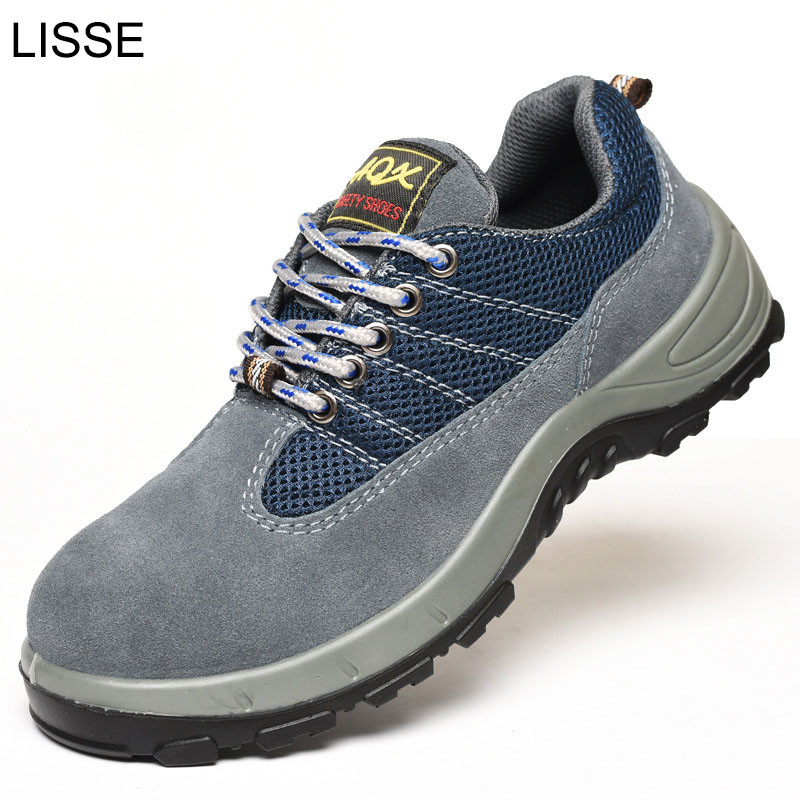 lisse Air Mesh Men Boots Work Safety Shoes Steel Toe Cap For Anti-smashing Puncture Proof Durable Breathable Protective air mesh men boots work safety shoes steel toe cap for anti smashing puncture proof durable breathable protective footwear