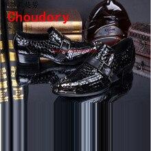 Choudory Мужская обувь из натуральной кожи черного патент шипастая мокасины купон по кожаные туфли крокодиловой кожи свадебное платье оксфорд