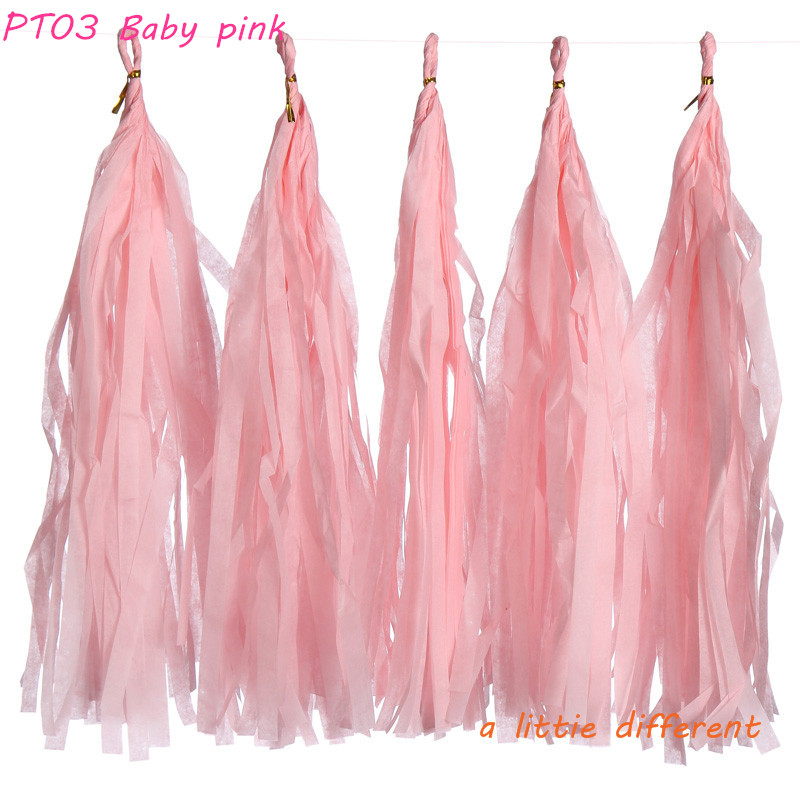 14inch(35cm) 1Pack(5pcs/Pack) Baby Pink Tissue Paper Tassels For Girls Birthday Party Wedding Balloon Decoration