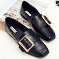 Женские туфли с пряжкой суперзвезда обувь черный/абрикос плоской женская обувь площади toe zapatos mujer резиновые твердые женская обувь мелкой