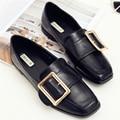 Zapatos de las mujeres hebilla zapatos superestrella negro/albaricoque zapatos de dedo del pie cuadrado de las mujeres planas zapatos de mujer zapatos de goma de las señoras sólidas superficial