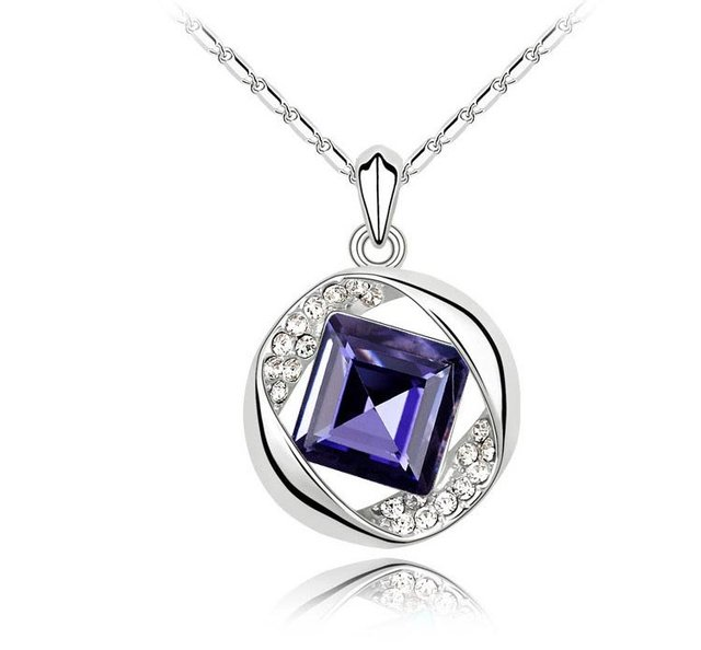 Free Shipping,wholesale blue,green,purple necklace,hot sell Austrian crystal necklace,pendant necklace