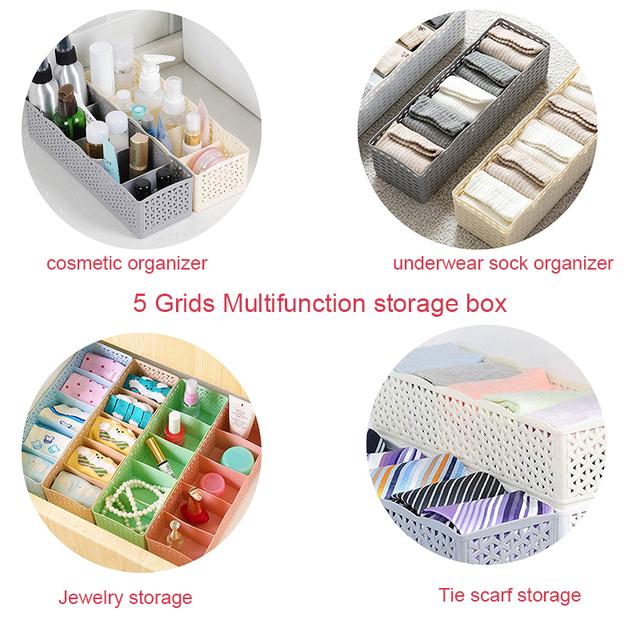 Wardrobe Storage Box Basket Organizer 5 Grids Container