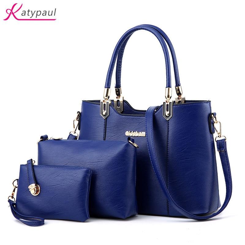 Ladeis Big Handbag 3 Set Composite Bags 2017 New Fashion Women Famous Designer Brand Leather Shoulder Messenger Bag Sac A Main