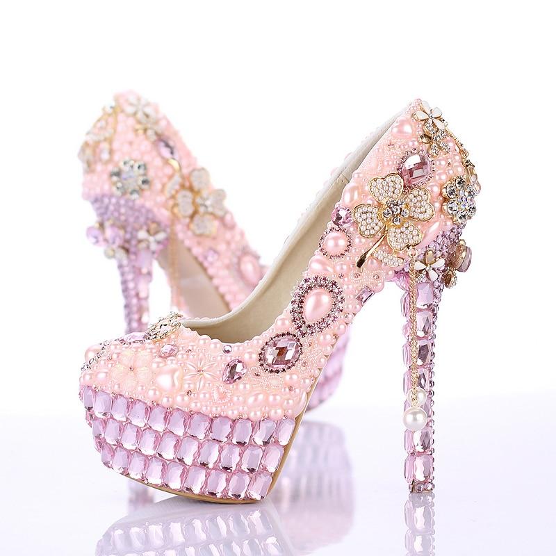 Pink pearl four leaf clover tassel wedding shoes round toe crystal high heeled dress shoes formal