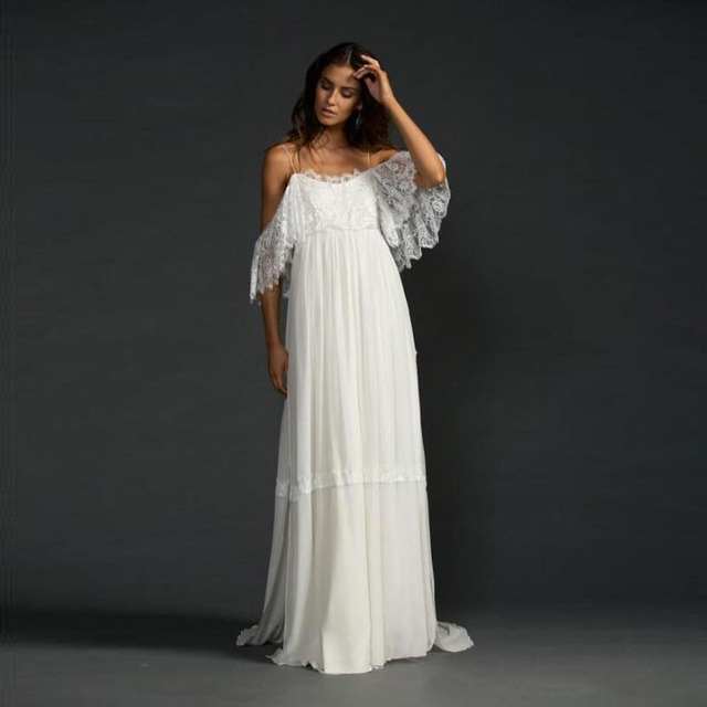Maxi Ancient Greek Style Dress With Deep Neckline And: Greek Style Boho Bohemian Wedding Dresses Spaghetti Straps