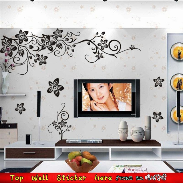 Fashion Henna Black Flower Lace Wall Stickers Party Decor Supplies