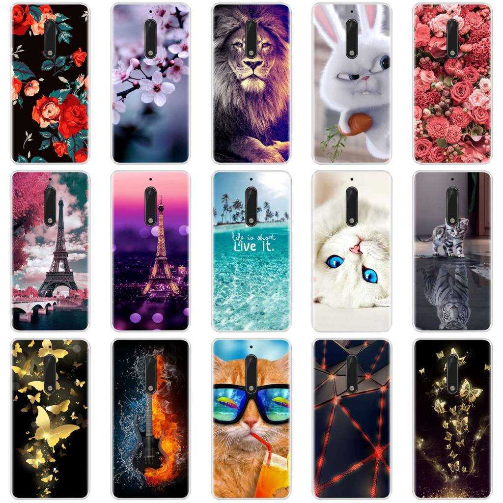 Phone Case For <font><b>Nokia</b></font> 3 5 6 <font><b>8</b></font> Soft Silicone TPU Ultra Thin Flower Floral Painted <font><b>Back</b></font> <font><b>Cover</b></font> For <font><b>Nokia</b></font> 3 5 6 <font><b>8</b></font> Case image