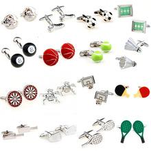 Fashion 18 Designs Sports Ball Bat Playing Cufflink Cuff Link 1 Pair Free Shipping Biggest Promotion cheap Tie Clips Cufflinks TZG095 Cuff Links Stone Classic Simulated-pearl Stainless Steel Various