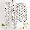Pijamas Одежда набор Хлопок шерсть Зимы Детей набор Печати Pijama infantil фрио Нагревали Пижамы дети Пижамы возраст 6y-14y