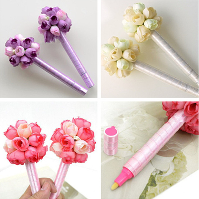 Gold ink handmade flowers wedding sign pen romantic ceremony party ...