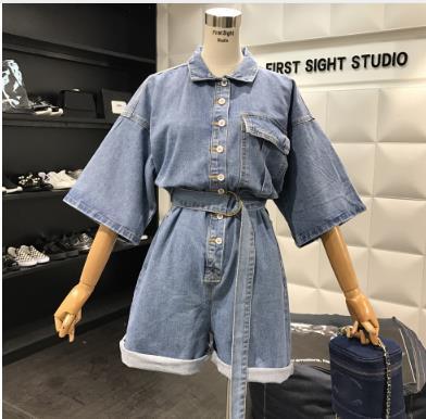 Women Denim Playsuits Overalls High Waist Slim Jeans Jumpsuits 2019 Loose Leg Jumpers Lapel Pocket Shorts Denim Casual Rompers Women's Clothing