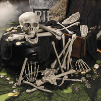 28PCS Halloween Crazy Bone Skeleton 100% Plastic Animal Skeleton Bones Horror Halloween Prop Skull keleton Decoration Supplies