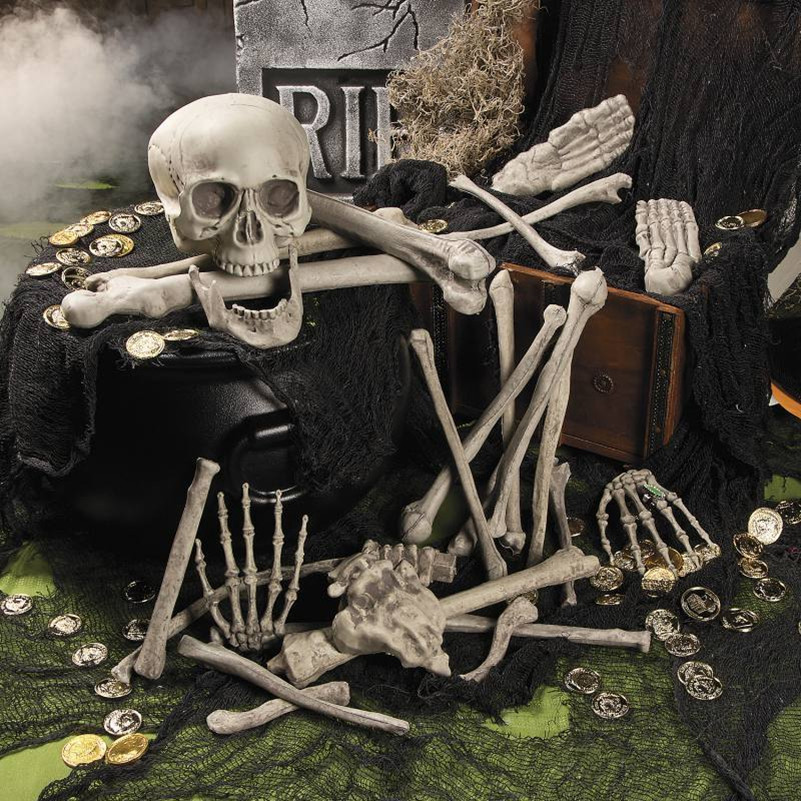 28PCS Halloween Crazy Bone Skeleton 100% Plastic Animal Skeleton Bones Horror Halloween Prop Skull keleton Decoration Supplies