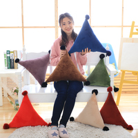 50CM One Piece Triangle Pillow Rabbit Woolen Ball PP Cotton Stuffed Pillows Plush Toy Sofa Decoration Student Office Cushions