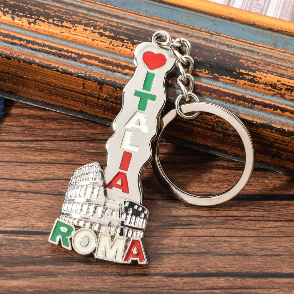 Vicney Italy Roma Key Chain Rotatable Colosseum Pendant Keychain For Friends Zinc Alloy Italy Travel Souvenir Keyring