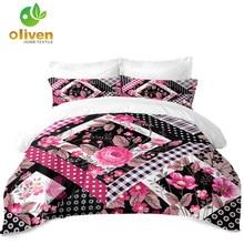 Red Flowers Duvet Cover Set Girls Sweet Floral Plaid Bedding King Queen Quilt Ethnic Bedclothes Pillowcase 3Pcs D35