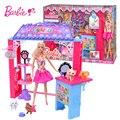 Barbie Друзья Дом Миниатюры Кукольный Домик Комплект Симпатичный Номер Девочка Игрушки miniaturas Poppenhuis Casa de Boneca Oyuncak CLG06