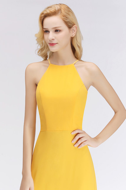 2a6ebd975af93 Babyonlinedress Charming Yellow Color Bridesmaid Dress 2018 Sexy Halter  Wedding Guest Dress Sleeveless Long Chiffion Dress-in Bridesmaid Dresses  from ...
