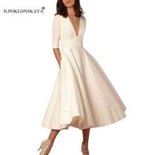 Элегантный Для женщин три четверти рукав платье в стиле ретро; женские плиссированные вечерние, сексуальное платье с v-образным вырезом, Высокая Талия клуб трапециевидные Длинные платья розового цвета