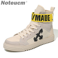Yellow strip ribbon Hip hop Trainer 2018 male Hiphop canvas high topmen casual shoe kanye west sneakers for men off white bambas