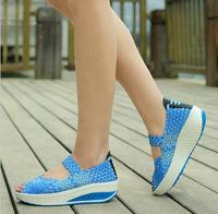 2018 Woven Casual Shoes Woman Thick Bottom Wedges Increase Shoes Women Casual Peep Toe Shoes