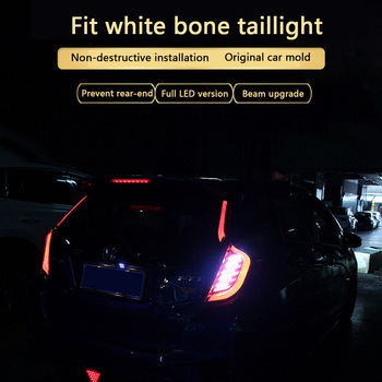 For 14-18 Honda New Fit gk5 Taillight Assembly Modified Special Post Lamp LED Tail Light Turn Brake Light Ribs Taillight Set